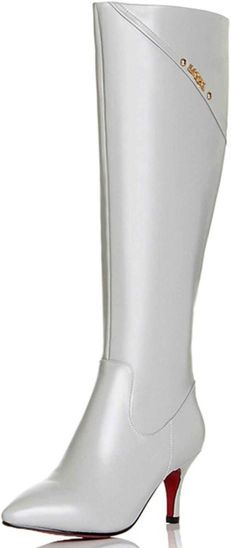 Nine Seven Genuine Leather Women's Pointy Toe Stiletto Heel Elegant Handmade Knee High Boot