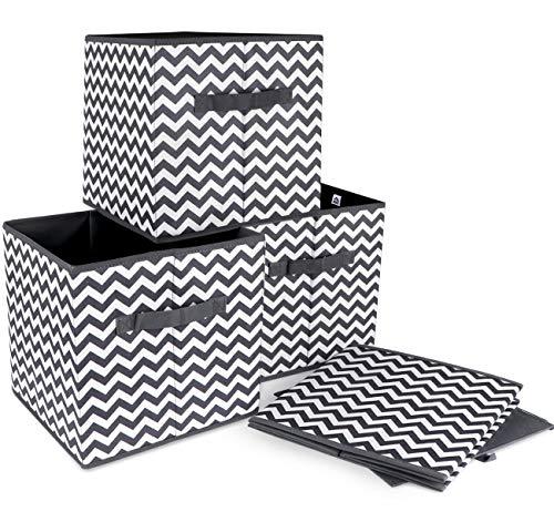 ilauke 4pcs Cube de Rangement Pliable Boîtes de Rangement Textile Non-Tissé Boîtes Tiroirs avec Poignée pour Linge Jouets Vêtement 30x30x30cm
