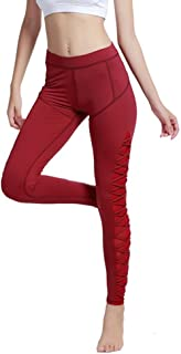 Women Training Night Running Pants Side Bandage Yoga Leggings Sportswear Gym Wear Skinny Elastic Breathable Trousers