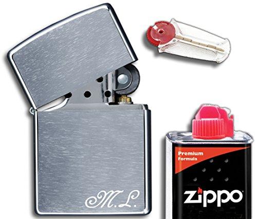 3Dglas Zippo Originale con inciso Il iniziali | Cromo Spazzolato, Chrome Brushed |compreso Set Regalo (Flint, Benzina)