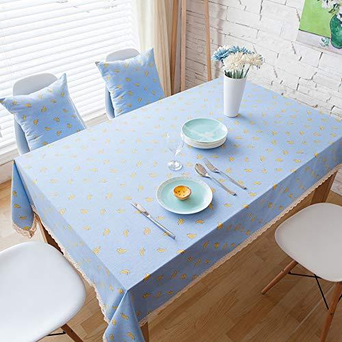 XIAOE Mantel Banana Tela de Mantel Azul Tela de Lino de algodón Comedor Funda de Mesa Lavable Protector de Mesa Dibujos Animados Habitación Linda de los niños Computadora Cubierta 140 * 160