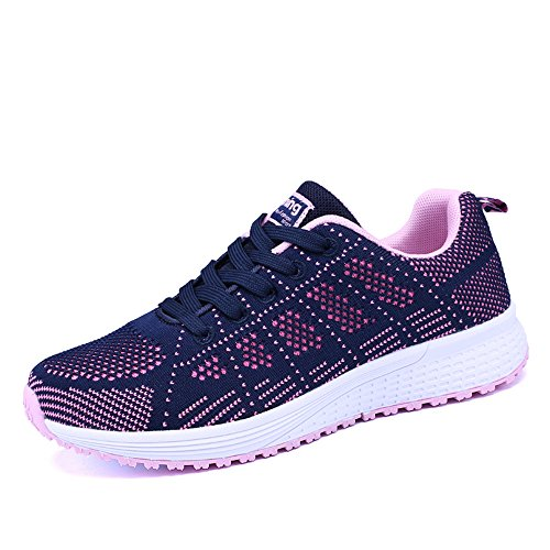 Zapatillas de Deportivos de Running para Mujer Gimnasia Ligero Sneakers Negro Azul Gris Blanco 35-40 Azul 35
