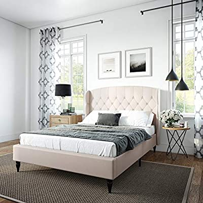 Classic Brands Coventry Upholstered Platform Bed | Headboard and Metal Frame with Wood Slat Support, King, Beige