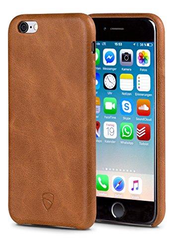 iPhone Bumper Case, SOHO Leather Wallet Case van Vaultskin - Premium Italiaans Leer, Ultra Slim Design, Bumper Hoes, iPhone 6(S), Cognac