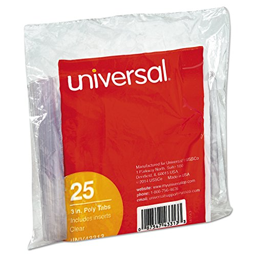 Universal 43313 1/3-Cut Hanging File Folder Plastic Index Tabs (25 per Pack)