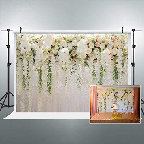 Riyidecor Bridal Floral Wall Backdrop Wedding 3D Rose 10x8 Feet Reception Ceremony Photography Background Photo Birthday Party Dessert Table Photo Shoot Backdrop Vinyl Cloth