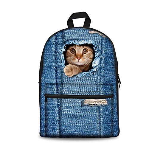 Coloranimal 2017 Fashion Designer Canvas Backpacks for Girls Kids Cat School Bags