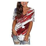 Camiseta de manga corta para mujer con diseño de Independence Day burdeos XL