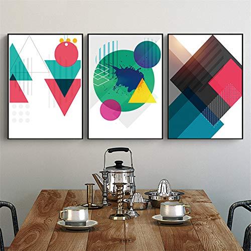 XWArtpic Geometrie Abstrakte Nordic geometrische Graffiti Einfache Bunte erstellen Poster Wandkunst Leinwand Malerei Moderne Bild Wohnkultur 60 * 90 cm