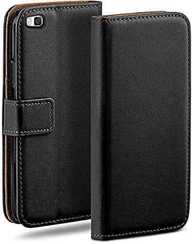 moex Klapphülle kompatibel mit Huawei P8 Hülle klappbar, Handyhülle mit Kartenfach, 360 Grad Flip Hülle, Vegan Leder Handytasche, Schwarz