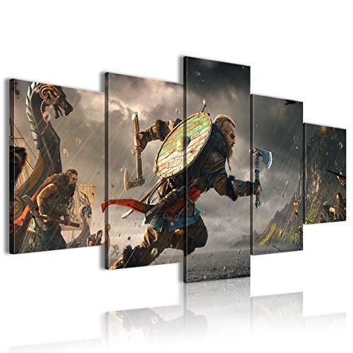Cuadro impreso HD 5 panelesAssassins Creed Valhalla Viking Hacha Conferencia decoración 200x100cm sin marco