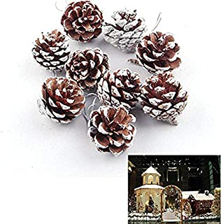 Oteshina 9 Pieces Christmas Pine Cones Ornaments Party Decorations Craft - 3d & Tree Christma Stitch Embroidery Stitch Count Christmas Diy Dmc Set Cross Ornament Stitch Year