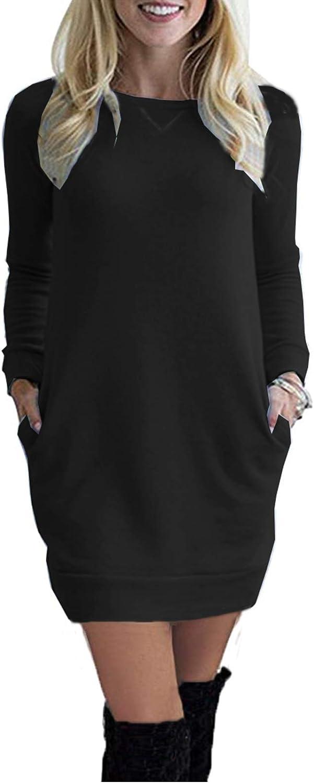 LuckyMore Womens Long Sweatshirt Dress Casual Crewneck Raglan Long Sleeve Tunic Dresses with Pockets