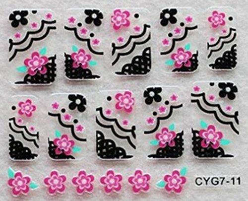 CLUB MODE Nail Art 10 Stickers Autocollants pour Ongles Scrapbooking Fleurs Roses décorations Noires