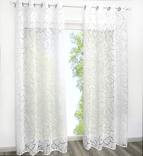 Home U Gardinenschals Transparent Vorhänge mit Ausbrenner Design Fenster Gardine 1PC Vorhang (BxH 140x225cm, Weiß mit Ösen)