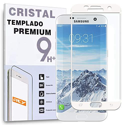 REY Protector de Pantalla Curvo para Samsung Galaxy S7 Edge, Blanco, Cristal...