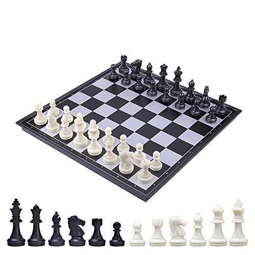Kosun チェスセット 国際チェス マグネット式 折りたたみチェスボード 黒と白の駒 収納便利 (L)