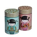Set von 2 Little Geisha Caddies Rose und Benzin Tee Kaffee 150 g von Eigenart