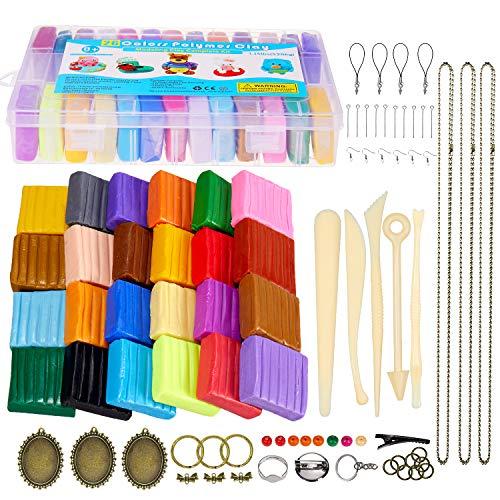 iFergoo knete Kinder Set- 26 Farben Polymer Clay gehören Safe und ungiftig Modelliermasse Modellierung Set und Werkzeuge,Ofen backen Polymer Ton ja Beste Geburtstagsgeschenke für Kinder