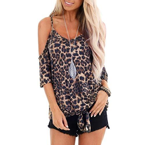 Briskorry Damen Kurzarm T-Shirt Leopardenmuster Knoten Kalte Schulter Beiläufig Hemden Lose Blusen Tops Longshirt