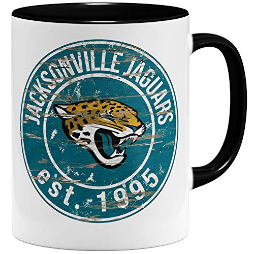 OM3 Jacksonville Badge Tasse | Keramik Becher | 11oz 325ml | American Football Mug | Schwarz