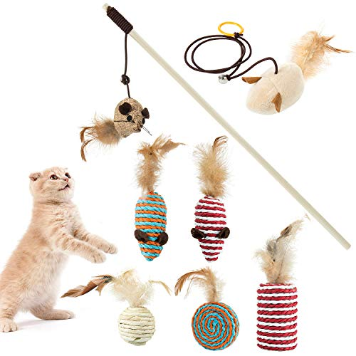 Comius Sharp 8 Piezas Juguete Interactivo para Gatos Kitty, Juguetes Interactivo Ratón y Bolas Varias Mascota Gato Captura Juguetes De Entrenamiento para Gatos Domésticos y Gato Mascota (A)