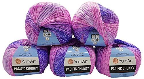 YarnArt Pacific Chunky 5 x 100 Gramm Strickwolle Mehrfarbig mit Farbverlauf, 500 Gramm Strickgarn mit 20% Wolle-Anteil (rosa, lila 306)