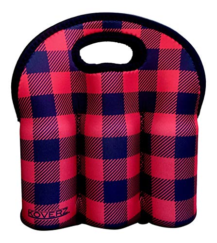 Koverz - #1 Neoprene Insulated 6-Pack Carrier, Beer Bottle Carrier, Six-Pack Tote - Buffalo Plaid