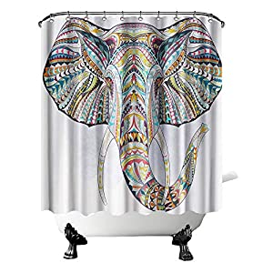 """Boho Elephant Shower Curtain Fabric Wild Animal with Colorful Pattern Bathroom Curtain Wildlife Curtain for Home Decor with Hooks 72"""" ×72"""""""