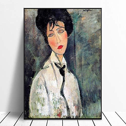 Oude Beroemde Meester Kunstenaar Figuur Schilderij Amedeo Modigliani Canvas Schilderij Woonkamer Decor Moderne Wall Art Posters_40x50cm
