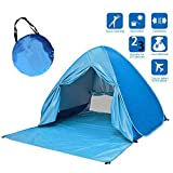 Skytower Automatic Pop Up Portable Outdoors Family Beach 2-3 Persons Tent Quick Cabana Sun UV Protection Shelter UPF 50+ (Blue, 2-3 Persons)