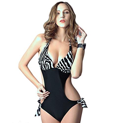 LatH.PIN Damen Badeanzug Einteiler Halter String Bikini Push Up Sexy Badeanzug Trikini Beach Kostüm Leopard Print, YY-321-BanMa-XL-FIT, Schwarz, YY-321-BanMa-XL-FIT XL
