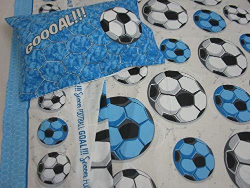 Juego de sábanas para cama individual, diseño de equipo de fútbol, color blanco/celeste, 100 % algodón de fibra natural, fabricado en Italia.