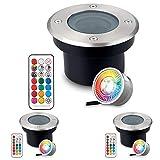 3er Pack Flacher RGB Bodeneinbaustrahler mit tauschbarem LED Leuchtmittel - 11 Farben + Warmweiß - IP67 - Edelstahl - 70mm - Rund