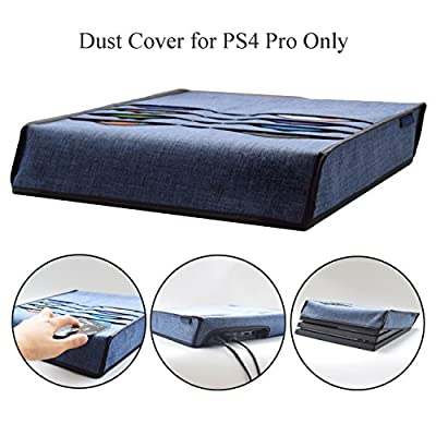 PS4 Pro Dust Cover Case with 8pcs Games Slot Pocket Hikfly Multifunction Dust Guard Splash-proof with Soft Lining for Playstation 4 Pro Console(2016 Pro Edition)(Blue) from Hikfly