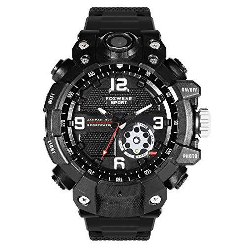 Reloj militar inteligente WIFI Reloj deportivo a prueba de agua con foto y video HD de 2.6K y grabación Reloj de pulsera de supervivencia con iluminación LED para montañismo Escalada Senderismo,32GB
