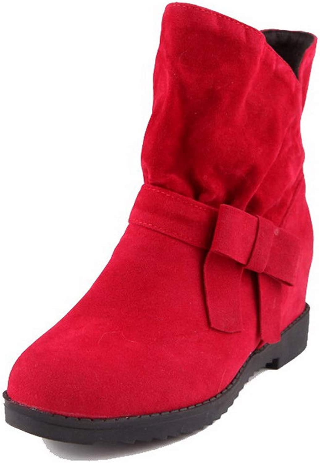 WeenFashion Women's Frosted Round-Toe Solid Mid-Calf Kitten-Heels Boots, AMGXX011263