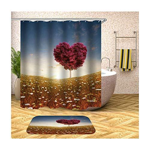 Daesar Herz Baum 40x60 Fußmatte Badezimme Badezimmer Duschvorhang 165x180 cm, Badezimmerteppich Set 2 Stück
