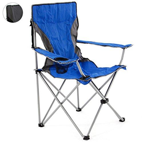 SONLEX Campingstuhl faltbar Angelstuhl klappbar blau grau bis 150 kg belastbar Faltstuhl mit Armlehne Getränkehalter Tragetasche Metallgestell Stahlrohr (blau)