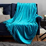 Bedsure Teal Soft Throw Blanket - Turquoise Pom Pom Throw Blanket for Couch , Warm Fuzzy Throw Teal Blanket Throw Size - 50x60 , Teal