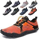Lvptsh Zapatos de Agua para Hombre Zapatos de Playa Zapatillas Minimalistas de Barefoot Secado Rápido Calcetines de Piel Descalza Escarpines de Verano Deportes Acuáticos,Naranja,EU46