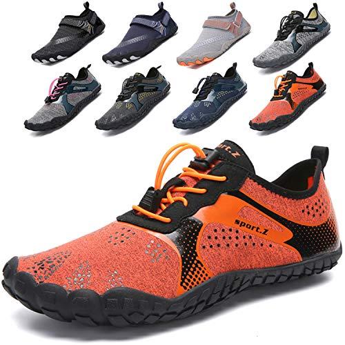 Lvptsh Zapatos de Agua para Hombre Zapatos de Playa Zapatillas Minimalistas de Barefoot Secado Rápido Calcetines de Piel Descalza Escarpines de Verano Deportes Acuáticos,Naranja,EU44