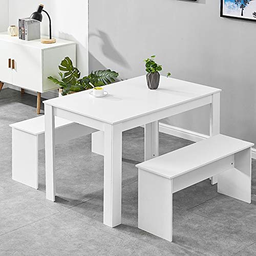 BELIFEGLORY Dining Table and 2 Benches, Space Saving 3 Pieces Wooden Furniture Set for Home, Kitchen, Office, Small Apartment (White)