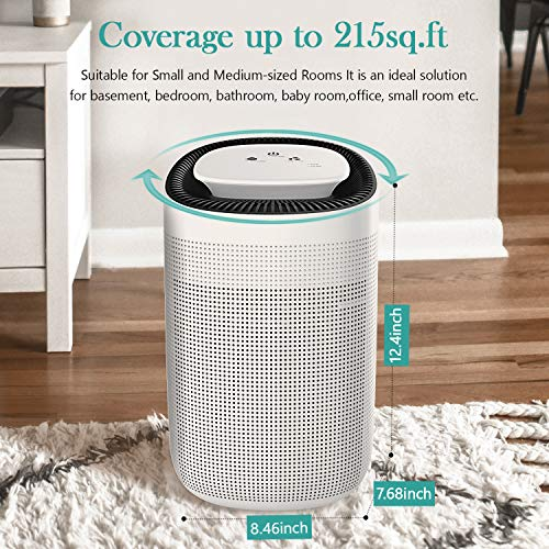 Air Purifiers for Home and Dehumidifier All in One, Portable Air Purifier for Allergies, Smokers - H13 HEPA Filter Remove 99.97% Smoke, Dust, Odors, Mold, 25DB Ultra-Silent, Up to 215 Sq.Ft