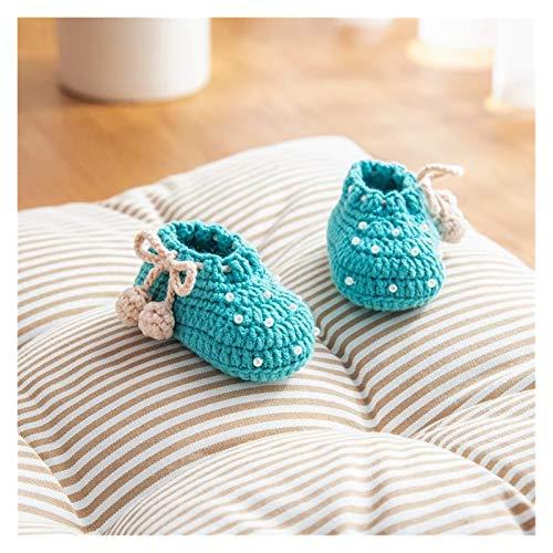 Youpin Zapatos de ganchillo hechos a mano de lana de ganchillo hechos a mano, sandalias de jardín, regalos para recién nacidos, zapatos de flores, gif de bebé (color: azul, tamaño del zapato: 10 cm)