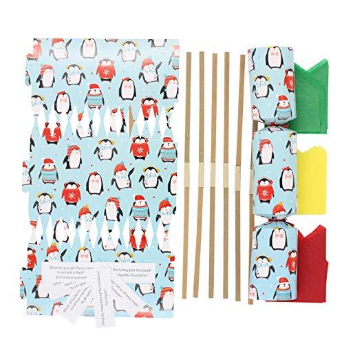 Cake Factory Christmas Crackers/Cracker Luxury Make Your Own DIY Novelty Kit (Pack of 12) 7 designs Elf Traditional Santa Reindeer Snow Man Penguin (Penguine 12)