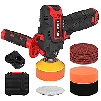 PULITUO 12V Cordless Buffer Polisher,Polisher Machine with Variable Speeds 0-2600/7800 RPM,Car Polisher with 2.0Ah Battery & Fast Charger,Buffer Polisher Kit including 13 Pcs Accessories.
