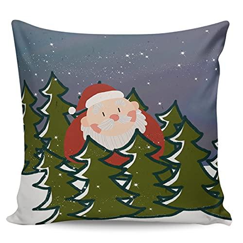 Scrummy Dekokissenbezüge 40,6 x 40,6 cm, Weihnachtsmann & Tanne, dekorative Kissenbezüge für Heimdekoration