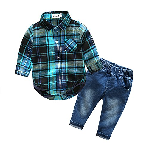 Kimocat Baby Boys Clothing Set Fashion Casual Suit Long Sleeve and Denim Pants Blue