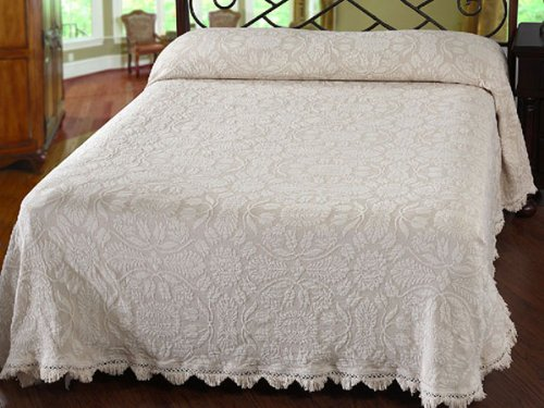 Maine Heritage Weavers Colonial Rose Bedspread, Queen, White